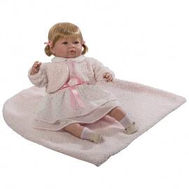 Κούκλα Sara με Ήχους, Ροζ Φόρεμα & Κουβερτάκι 50εκ.
