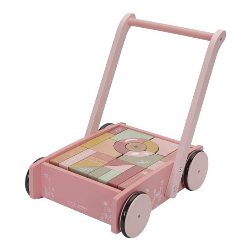 Καρότσι-Περπατούρα με Ξύλινα Τουβλάκια Ροζ Little Dutch (7020)