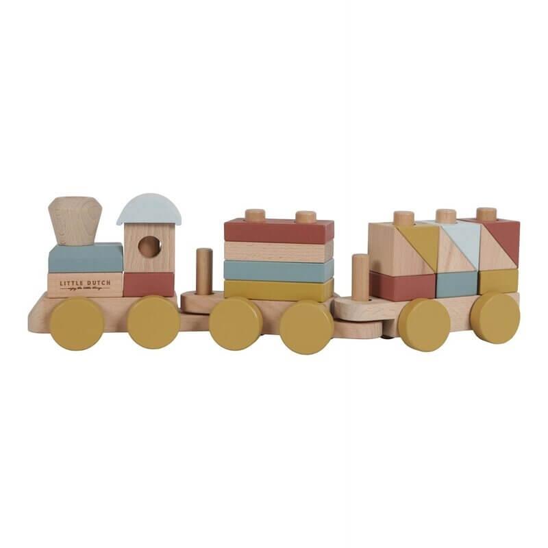 Ξύλινο Τρενάκι για Άσκηση Λεπτής Κίνησης Pure & Nature (πολύχρωμο) Little Dutch (4702)