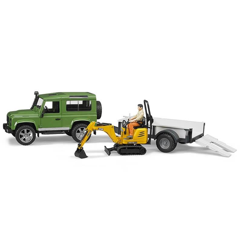 Bruder - Τζιπ Land Rover με Καρότσα & Εκσκαφέα CAT