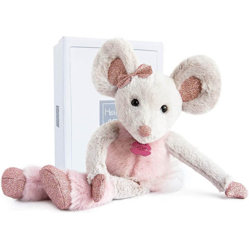 Ποντικίνα Γκρι - Ροζ Λούτρινη Souris 37εκ. σε Κουτί Δώρου Doudou