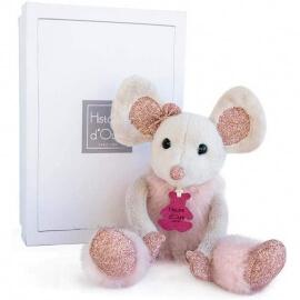 Ποντικίνα Γκρι- Ροζ Λούτρινη Souris 25εκ. σε Κουτί Δώρου Doudou