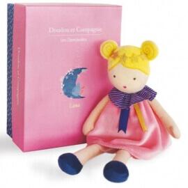 Πάνινη Κούκλα Luna Ροζ 28εκ. σε Κουτί Δώρου Doudou