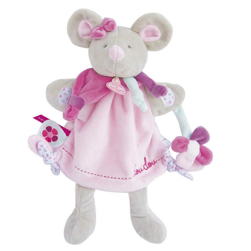 Ποντίκι Ροζ Γαντόκουκλα Doudou 28εκ.