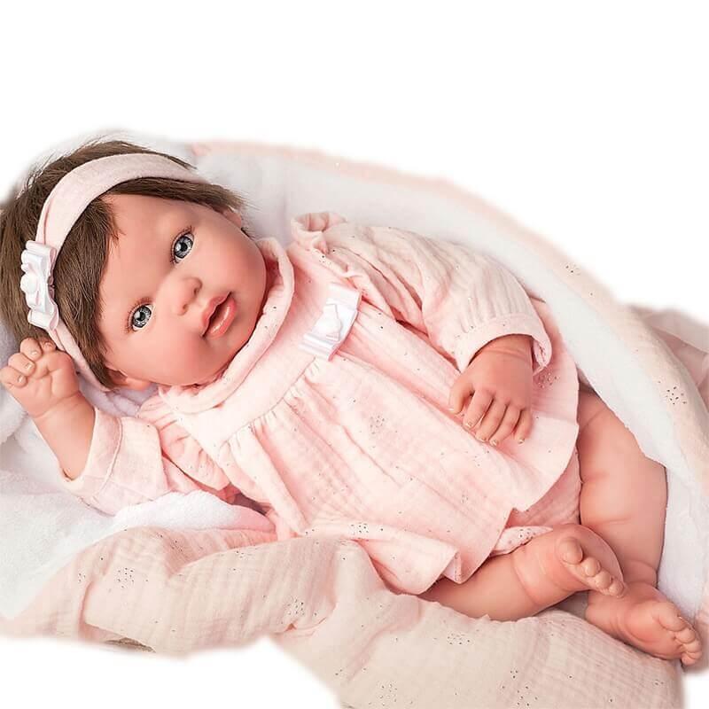 Μωρό Reborn Valentina 45εκ. με Μαλλιά και Κουβερτάκι Munecas Arias (98067)