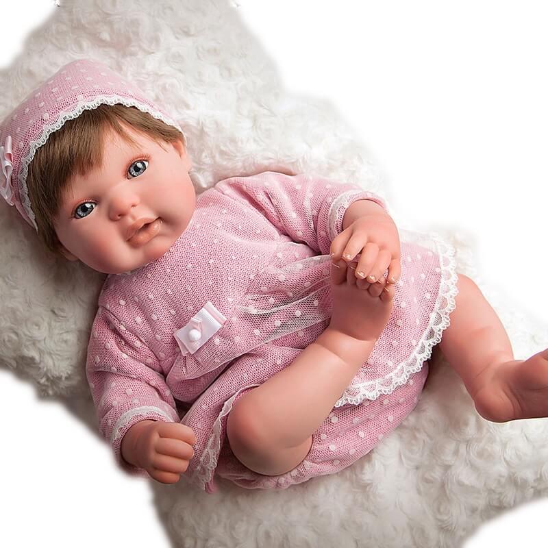 Μωρό Reborn Carolina 45εκ. με Μαλλιά και Μαξιλάρι Munecas Arias (98038)