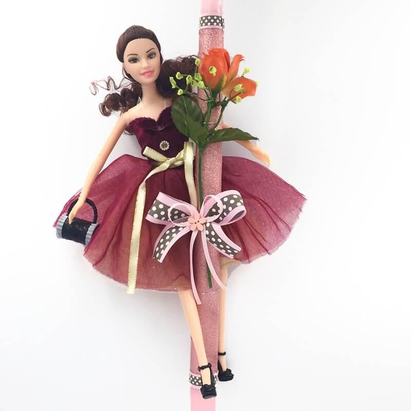 """Χειροποίητη Πασχαλινή Λαμπάδα με Κούκλα """"Πριγκίπισσα των Λουολουδιών"""" Μελαχρινή (21.99Α)"""