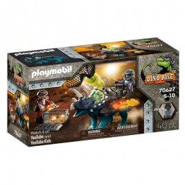 Playmobil Δεινόσαυροι - Τρικεράτωψ με πανοπλία-κανόνι και μαχητές (70627)