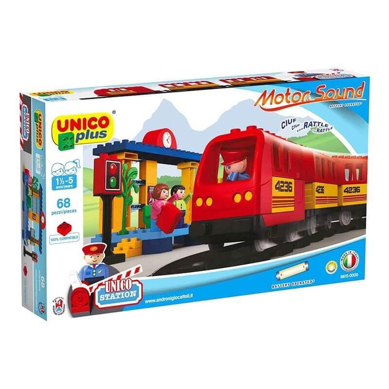 Unico Plus Τουβλάκια - Κατασκευή Τρένο με Κίνηση, Ήχους και Γραμμές 68 κομ.
