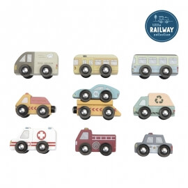 Σετ 9 Ξύλινα Οχήματα Little Dutch (4492)