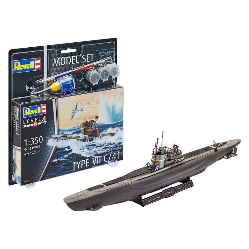 Πολεμικό Υποβρύχιο Type VII C/41 Σετ Δώρου με Χρώματα και Κόλλα 35 κομ. - Revell 65154
