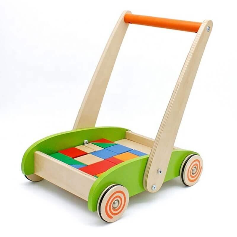 Καρότσι-Περπατούρα με Ξύλινα Τουβλάκια - Eva Toys W16E066