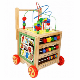 Ξύλινη Περπατούρα-Κύβος Δραστηριοτήτων & Προγραφής 2σε1 - Eva Toys W11B128