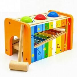 Ξύλινο Μεταλλόφωνο & Εκπαιδευτικό Παιχνίδι με Σφυράκι - Eva Toys W07C068