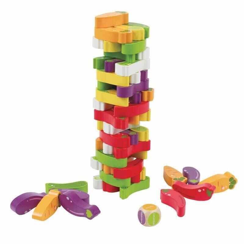 Πύργος Ισορροπίας με Ξύλινα Τουβλάκια-Λαχανικά - Eva Toys W13D078