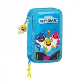 Σχολική Κασετίνα Διπλή Γεμάτη (28τμχ) Baby Shark - Safta (412060854)