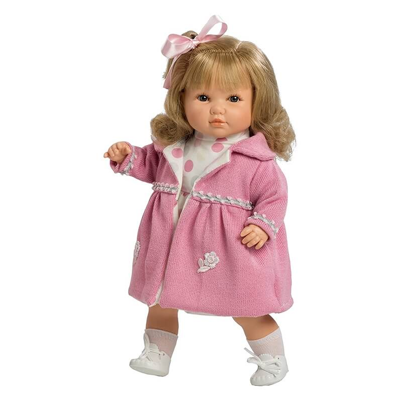 Κούκλα Sanrda 42εκ. με Ήχους, Πιπίλα,Φόρεμα Πουά και Παλτό - Berbesa (4418)