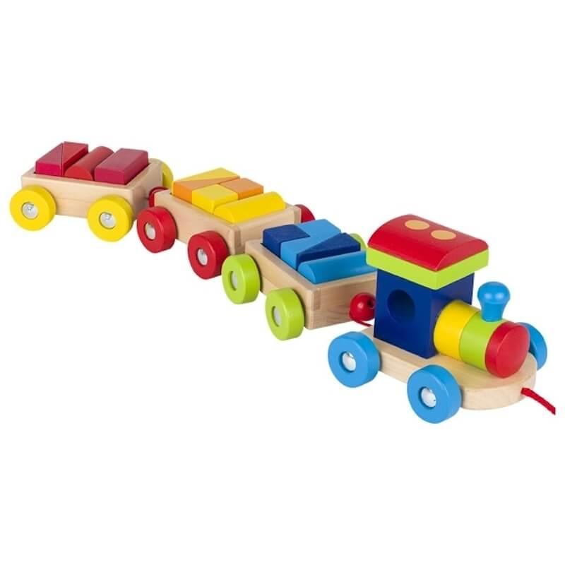 Ξύλινο Τρένο με Μηχανή, 3 Βαγόνια και Τουβλάκια